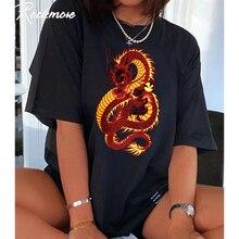 Rockmore ejderha baskı kısa kollu gömlek artı boyutu mektubu baskılı uzun gömlek yaz gevşek siyah T Shirt bayanlar Streetwear üst