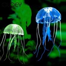 Artificial Glowing Jellyfish Aquarium Float Effect Decoration Fish Tank Underwater Live Plant Luminous Ornament Aquatic Landscap