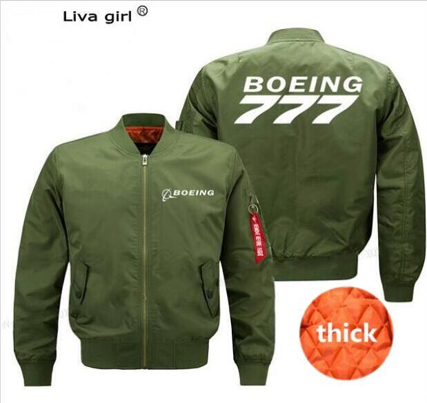 New Airbus Men's Pilot 747 787 777 Boeing Flight Jacket Thicken Warm Zip Long-Sleeve Boeing Jacket Men's Sports Casual Top