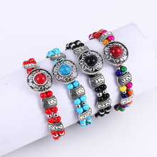 Bohemian Tibetan Silver Beaded Charm Bracelets For Women Ethnic Vintage DIY Handmade Circular Bangles Statement Jewelry