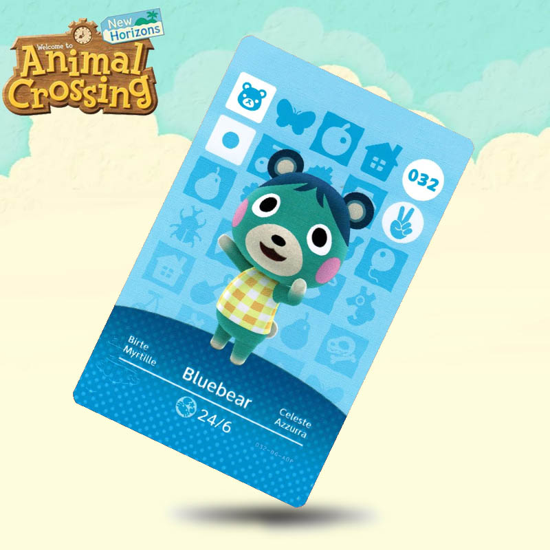032 Bluebear  Animal Crossing Card Amiibo Cards Work For Switch NS 3DS Games