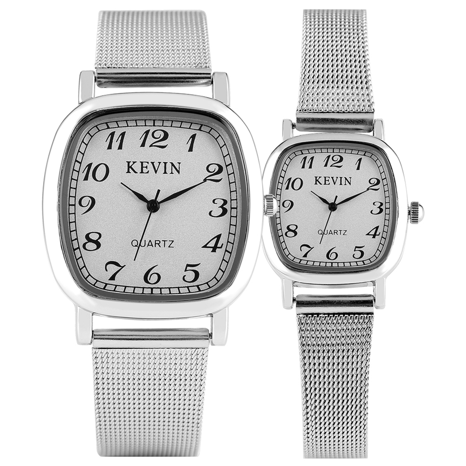 KEVIN Lovers Watches Arabic Numerals Display White Dial Stainless Steel Wristwatch Casual Men Wristwatch Women Watch Gifts 2019