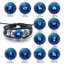 Wholesale 12 Zodiac Signs Constellations Handmade Woven Leather Bracelet Classic Glass Time Gem Bangle for Women Fashion Jewelry