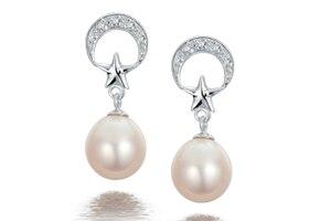 Boucles d'oreilles en perles d'eau douce 9-10mm en forme de goutte S925 boucles d'oreilles en argent boucles d'oreilles femme bijoux pour petite amie cadeaux de vacances