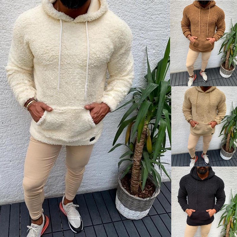Winter Hooded Sherpa Sweater Big Pocket Teddy Fleece Fluffy Pullovers Men's Plus Size Warm Fleece Tops Streetwear