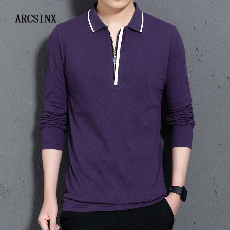ARCSINX Long Sleeve Polo Shirt Men Plus Size 5XL 4XL 3XL Brand High Quality Mens Polo Shirt Cotton Autumn Fashion Man Polos