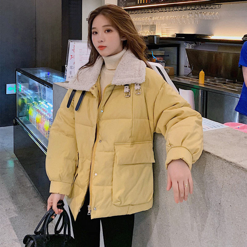 2019 Winter Korean-style Woman Cotton Dress Super Fire CHIC Workwear Cotton Overcoat Lambs Wool Fold-down Collar Cotton-padded J