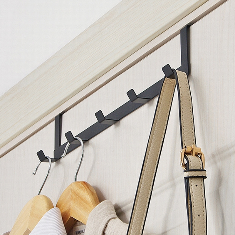 Practical Wrought Iron Door Hook Wall Hanger Hat Durable Over Door Bearing About 5kg Kitchen 5 Hooks Towel Hat Clothes Wall Hook