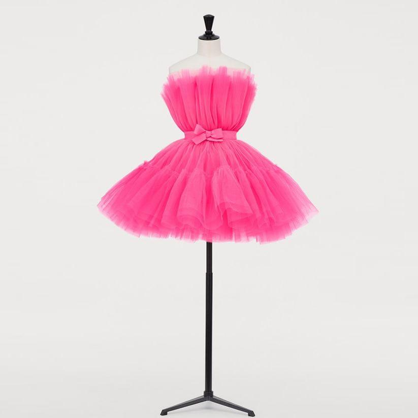 Robe de bal de Cocktail en Tulle rose vif robes courtes bouffantes une ligne mignonne Robe de soirée formelle de retour avec Robe de soirée à ceinture