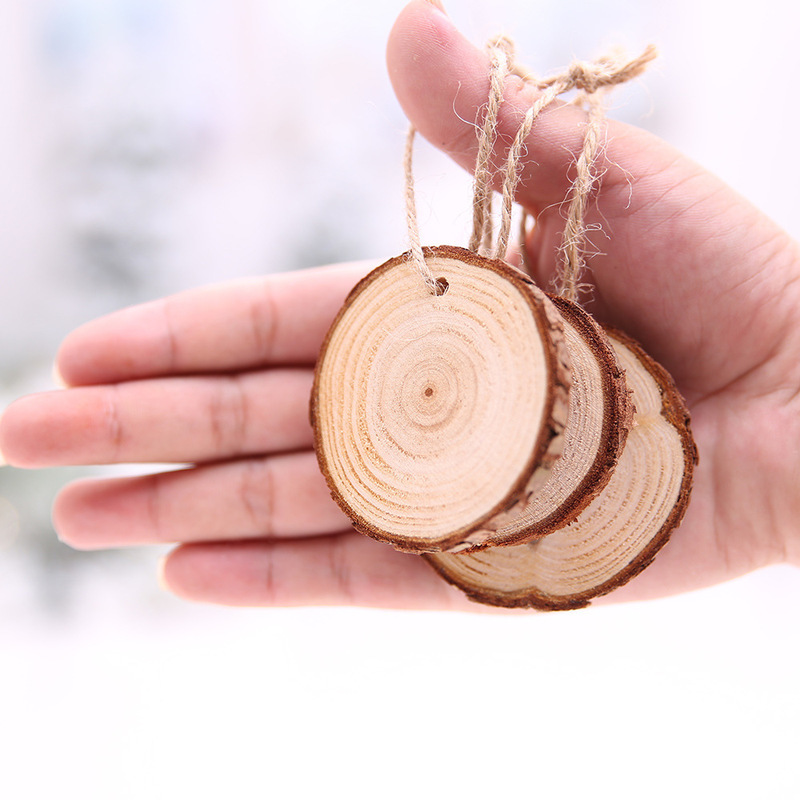 10pcs DIY Craft Christmas Wood Slices Decorations Wood Disks Birthday Party Kids Table Cards Wedding Xmas Decoration Gift Tag
