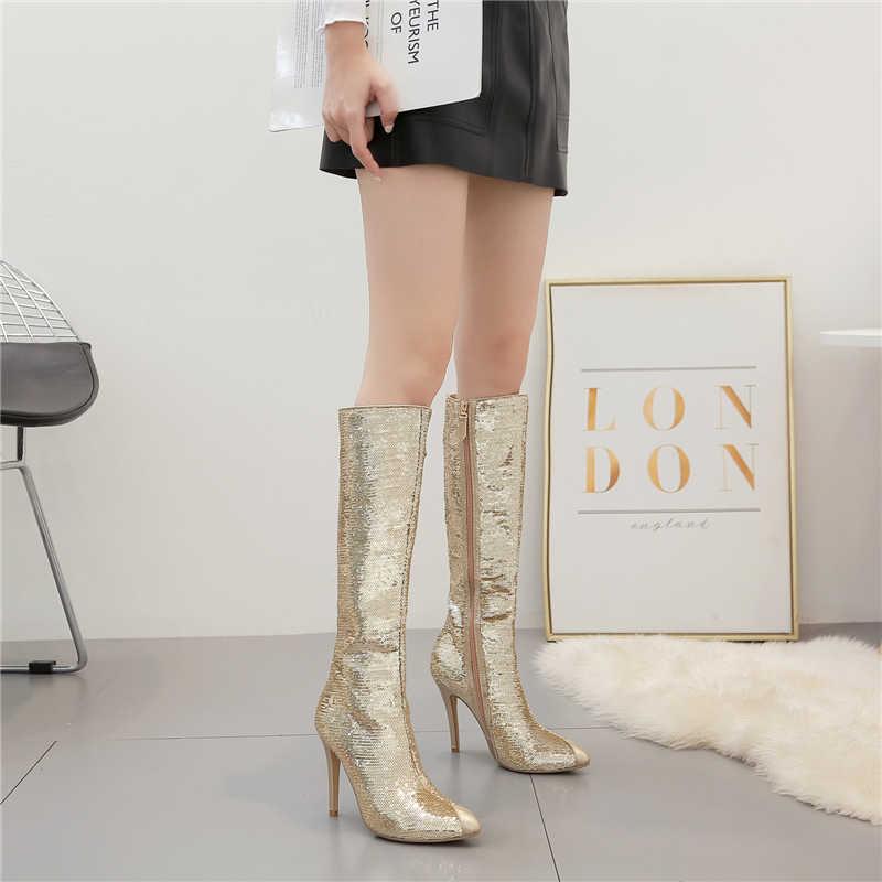2019 ผู้หญิง Shining 10cm รองเท้าส้นสูงรองเท้าเครื่องราง Glitter สีดำทองรองเท้าส้นสูงรองเท้าส้นสูง Stiletto ฤดูใบไม้ร่วงฤดูหนาวเลื่อมชี้รองเท้า