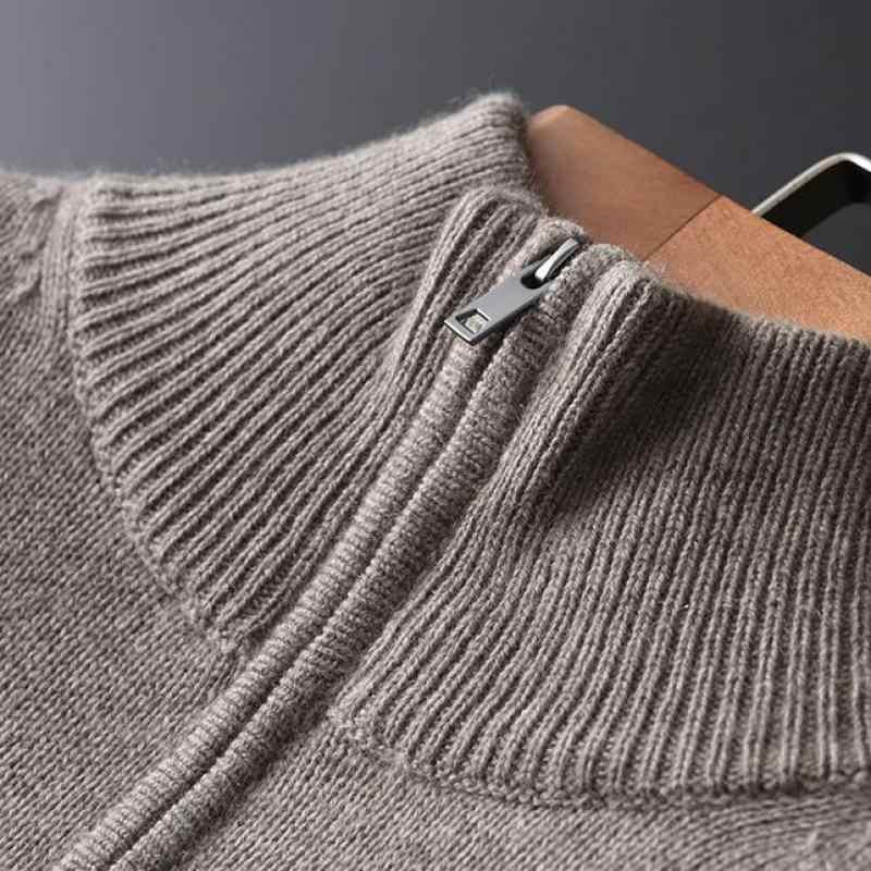 캐시미어 스웨터 남성 럭셔리 절반 지퍼 칼라 솔리드 컬러 망 플러스 크기 4xl 슬림 맞는 겨울 스웨터 남자
