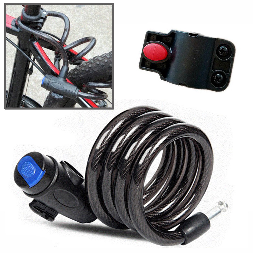 ABS Black Motorcycle Bicycle Cycling Riding Motor Bike Lock Cable Steel Wire Lock With Keys