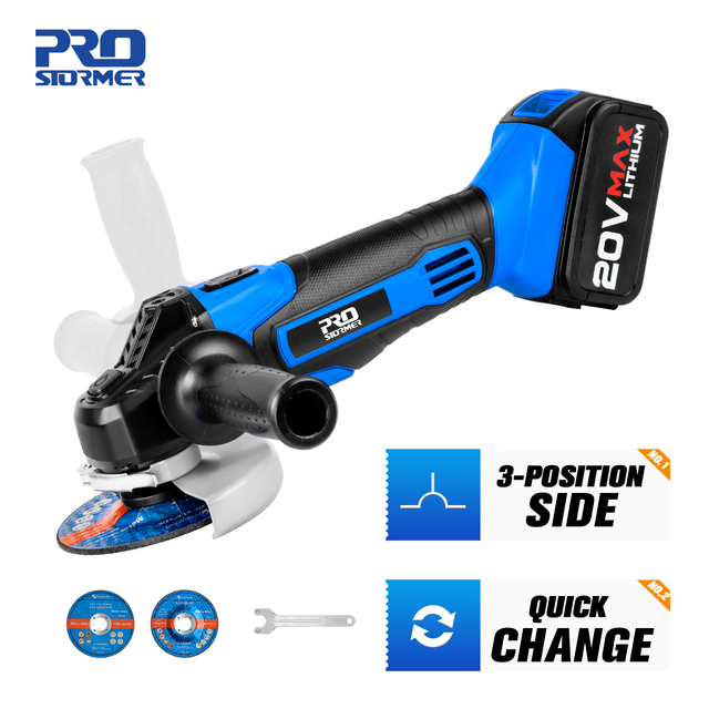 Cordless Angle Grinder 20V Lithium-Ion Battery Machine Cutting Electric Angle Grinder Power Tool By PROSTORMER 1