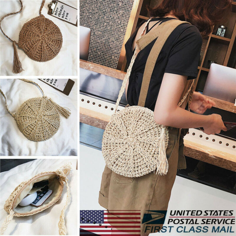 1pc New Women Tassels Round Crossbody Shoulder Bag Beach Circular Rattan Wicker Straw Woven Basket Tote Bag Straw Bags