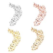 48 pçs borboleta adesivos de parede decorações 3d decalques de parede metálico arte adesivo diy murais presente para casa crianças quarto berçário par