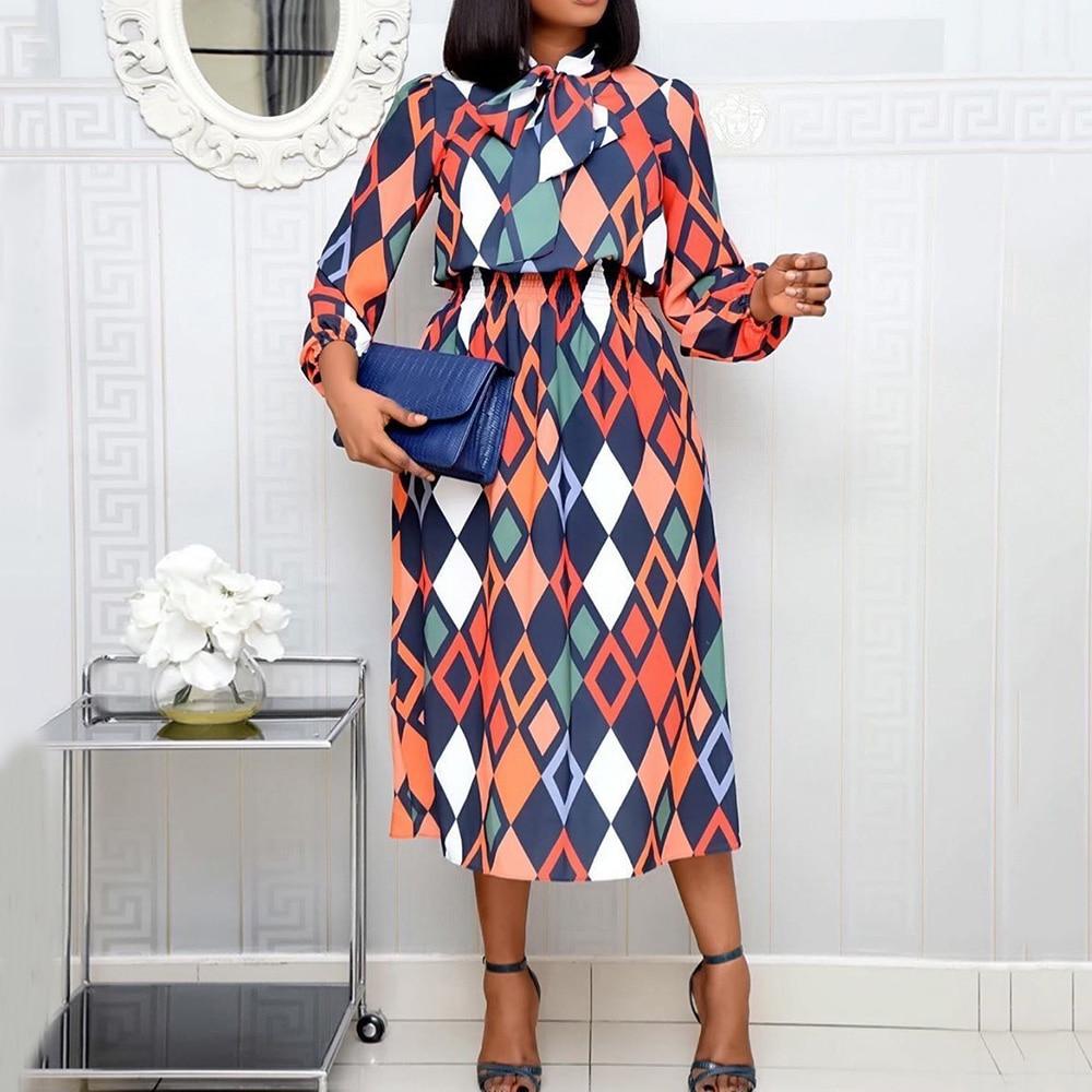 Plus Größe Büro Kleid Vintage Geometrische Muster Druck Elastische Hohe Taille Afrikanische Frauen Midi Kleider Herbst Herbst Kleidung Vestido