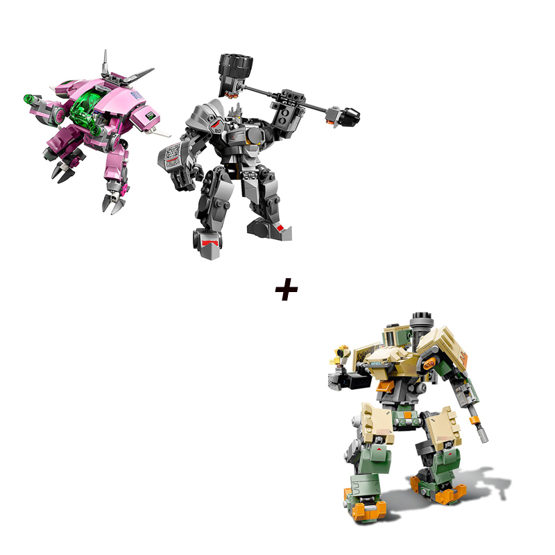 50004 Compatible Legoing 75973 75974 Building Stack Micro Blocks Overwatchs D.Va & Reinhardt And Bastion 50005