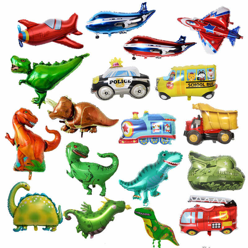 Big Toy Plane Car Foil Ballon Kids Baby Shower Boy Fighter Tank Ambulance Dinosaur Birthday Party Decoration Train Cars Balloons
