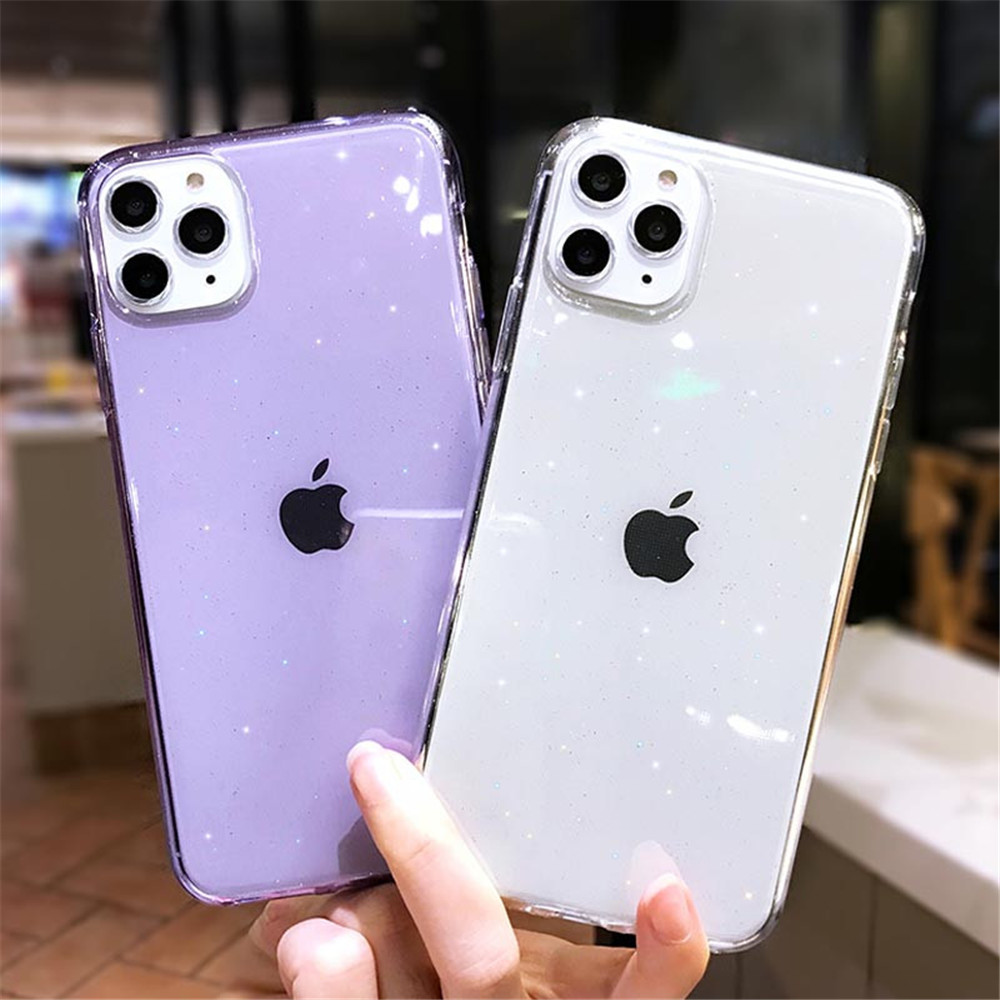 Hb03e6d6c73ec43658c4658f5f3033931T - Moskado Bling Glitter Transparent Phone Cases For iPhone 11 11Pro Max X XR XS Max 7 8 6 6s Plus Clear Solid Soft TPU Back Cover