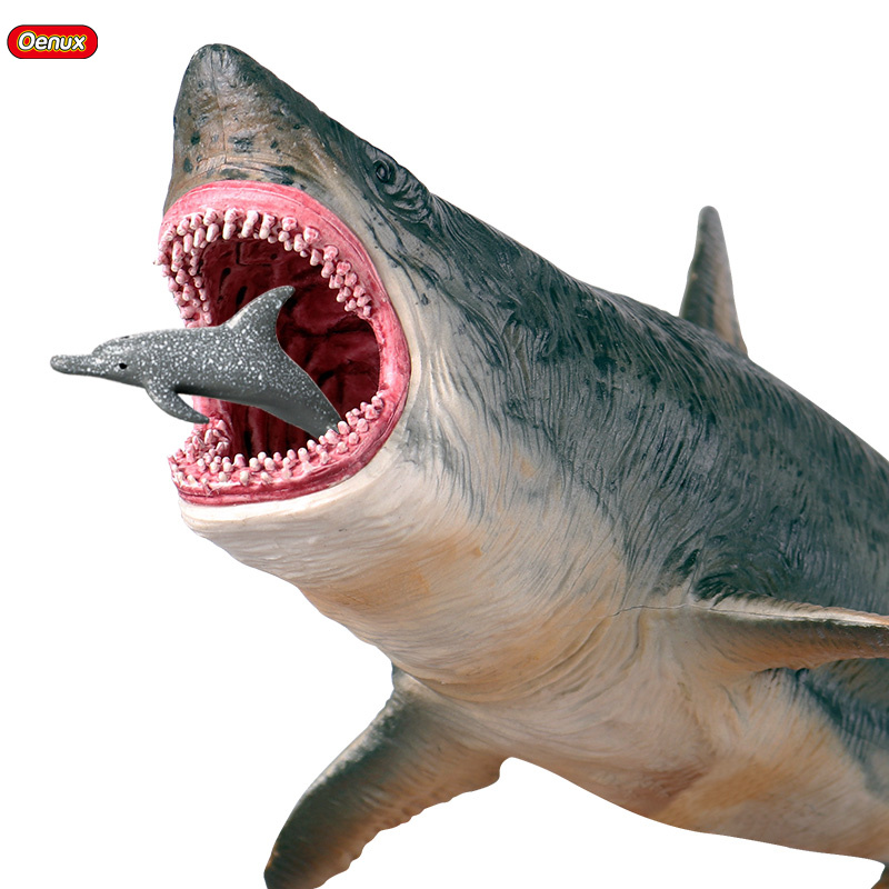 Oenux Savage Marine Sea Life Megalodon Action Figure Classic Ocean Animals Big Shark Fish Model PVC Collection Toy For Kids Gift