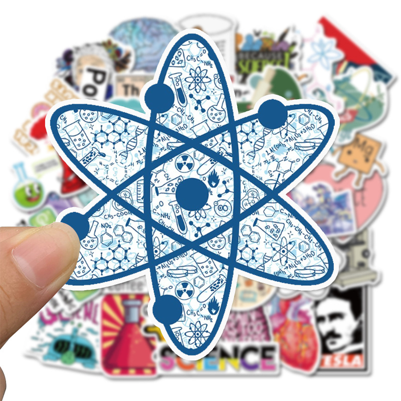 50 PCS Science Lab Series Sticker Scientist for Skateboard Laptop Suitcase Case Table Chidren Toy Decal Waterproof Stickers