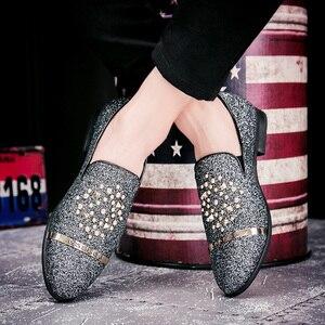 Image 4 - EMOSEWA chaussures en strass pour hommes, chaussures de luxe, Style italien, à la mode, chaussures formelles, en boîte de nuit, mariage, mocassins, 2019