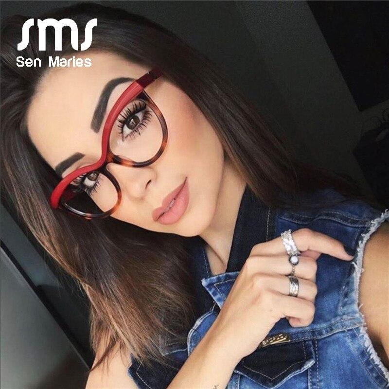 Vintage Cat Eye Glasses Frames Women Luxury Brand Designer Square Optical EyeGlasses Fashion Eyewear Computer Lentes Mujer