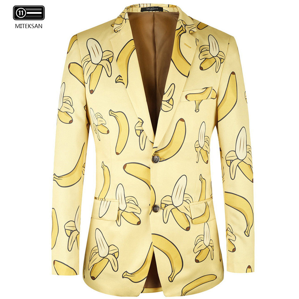 2020 New Casual Beach Men Blazers Two Buttons Banana Print Jacket Mens Fancy Costume Hombre Floral Party Suit Terno Masculina