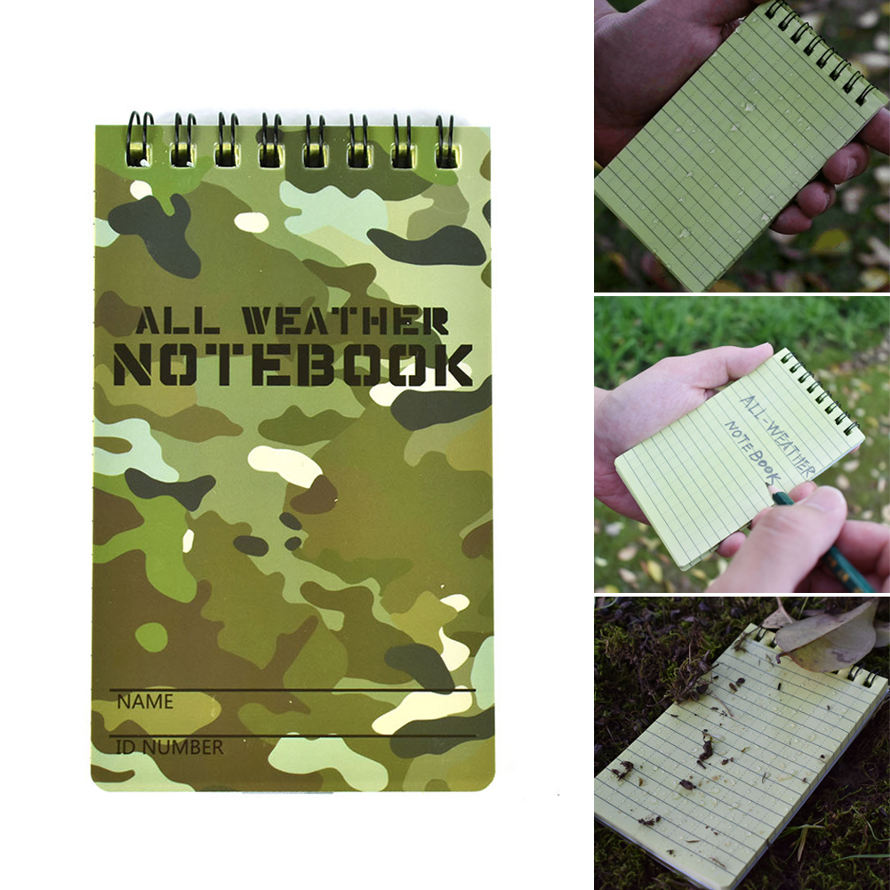 5pcs Tactical Note Book All-Weather Outdoor Notebooks Waterproof Writing Paper Spiral Note Pads Stationery Pocketbook Wholesale