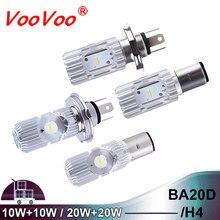 VooVoo-bombilla LED para faro delantero de motocicleta BA20D HS1 H4, ATV, Hi/Lo 10W/20W 6500K, faro led para Moto, accesorios para Scooter