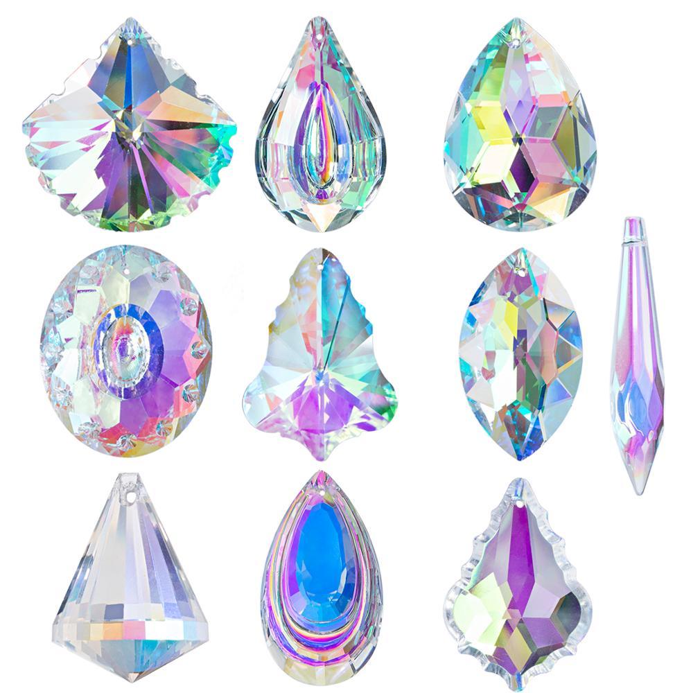 H&D 10pcs AB Coating Crystal Chandelier Lamp Lighting Drops Pendants Prisms Hanging Glass Prisms Parts Suncatcher Home Car Decor
