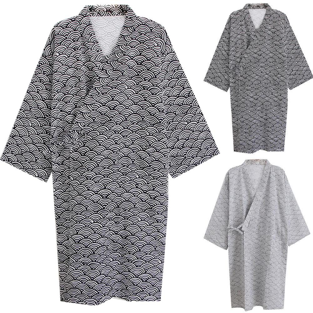 Men Bathrobe Kimono Sleepwear  Home Leisure Pajamas Printed Loose Cotton Gown