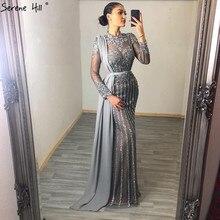 이슬람 회색 럭셔리 긴 소매 댄스 파티 드레스 2020 인어 다이아몬드 반짝이 가운 고요한 힐 BLA70199