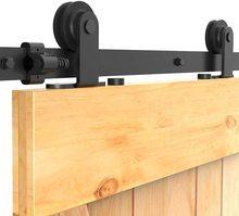 HACCER T Shape 4-9.6FT Sliding Barn Door Hardware Kit Black Hanger Track System Carbon Steel Door Roller Rail