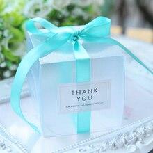5x5x5cm PVC boîtes à bonbons claires décorations de mariage fournitures de fête boîte cadeau bébé montré faveurs boîte à bonbons avec ruban