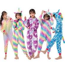 Радужные пижамы кигуруми с единорогом и звездами, детская одежда для сна для мальчиков и девочек, детские комбинезоны с животными, новые зимние фланелевые комбинезоны