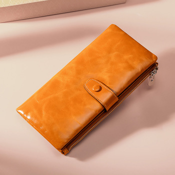 Women Wallet Long Zipper Genuine Leather Ladies Clutch Bags With Cellphone Holder High Quality Card Holder New Wallet