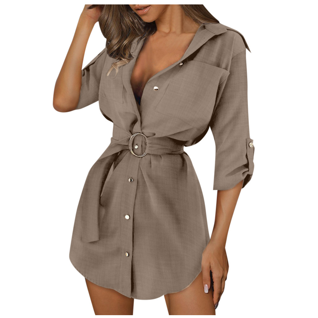 Women Autumn Long Sleeve Mini Dresses OL with Belt Casual Work Plain Shirt Tops Sexy Brief Elegant Casual Solid Dresses 2021#XX