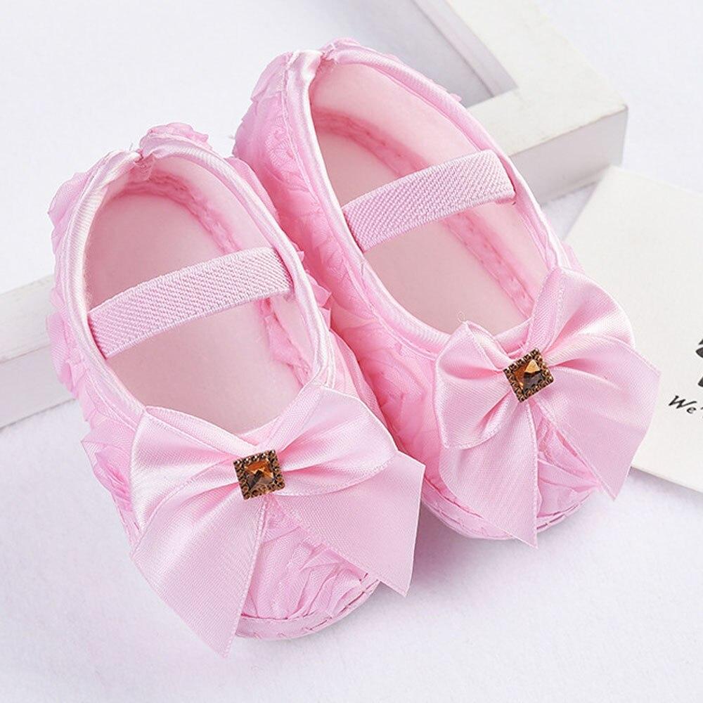 NewBorn Baby Girls First Walkers Shoes Rose Bowknot Toddler Soft Prewalker Anti-Slip Shoes Wedding Princess Shoes Baby Schoenen