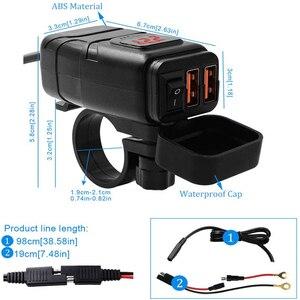 Image 5 - Xe Máy Xe Gắn Sạc USB Chống Nước Adapter 12V Điện Thoại Kép Sạc Nhanh 3.0 Vôn Kế Công Tắc On Off Moto phụ Kiện