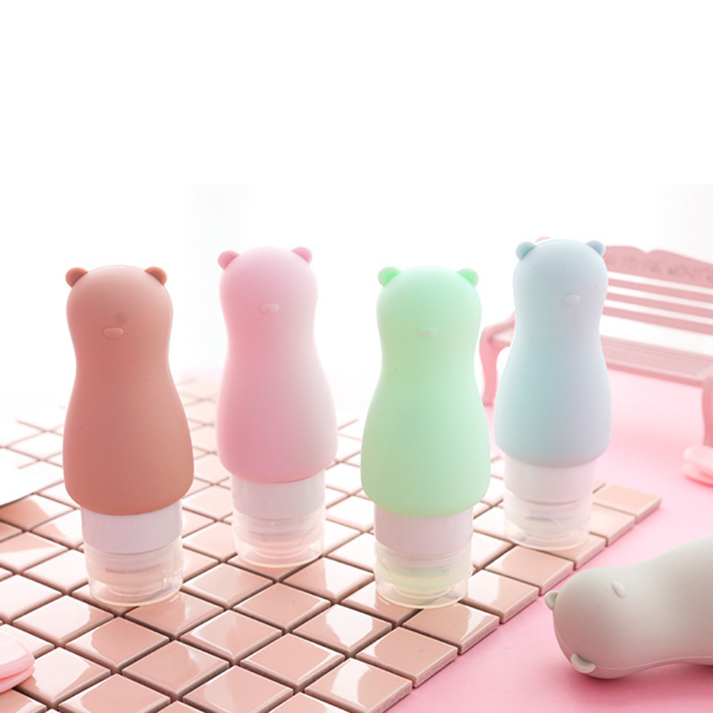 90ML Portable Silicone Bottle 6color Reusable Travel Bottle Lotion Shampoo Cosmetics Cute Bear Shape Empty Container Hotselling