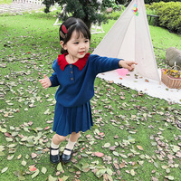 Autumn Casual Kids Girls Cotton Clothing 2 Piece Sets Turn Down Collar Knitted Sweater+Pleated Skirts Children Outfits 2 8T