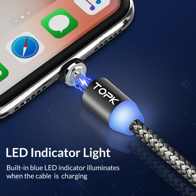 LED Magnet USB Cable for iPhone w/ Type C 2