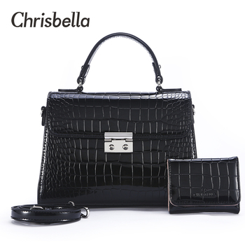 CHRISBELLA Fashion Women Handbags PU Leather Tote Bag Alligator Crossbody Bag Female Shoulder Messenger Bags Small Purse Bag Set multifunction 4 pcs set pu leather handbag women big solid fashion tote bag female shoulder bags black composite bag quality