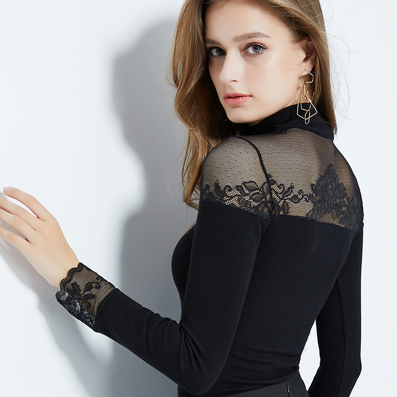 Autumn Winter Elegant Vintage Turtleneck Women's Thermal Tops Long Sleeve Mesh Floral Lace Second Skin Thin Slim Sexy Underwear