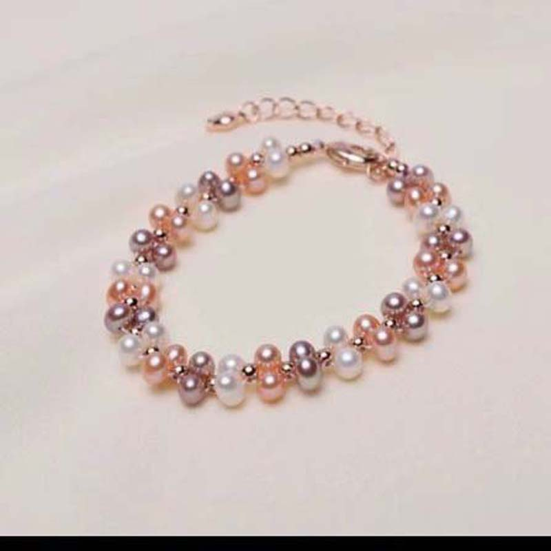 Wholesale New handmade Bracelets genuine pearl 4-4.5mm natural colours 12Qty