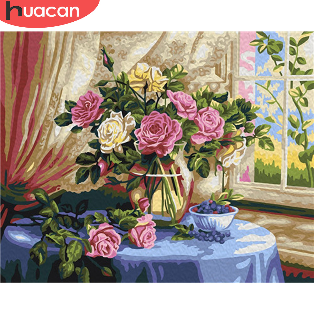 HUACAN Painting By Numbers Rose Flowers HandPainted Drawing Canvas Kits DIY Home Decoration Pictures Coloring Gift