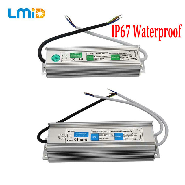 IP67 Waterproof LED Driver 50 60Hz 10W 30W 50W 60W 100W 120W 300W LED Power Supply AC90 265V Lighting Transformers For LED Power
