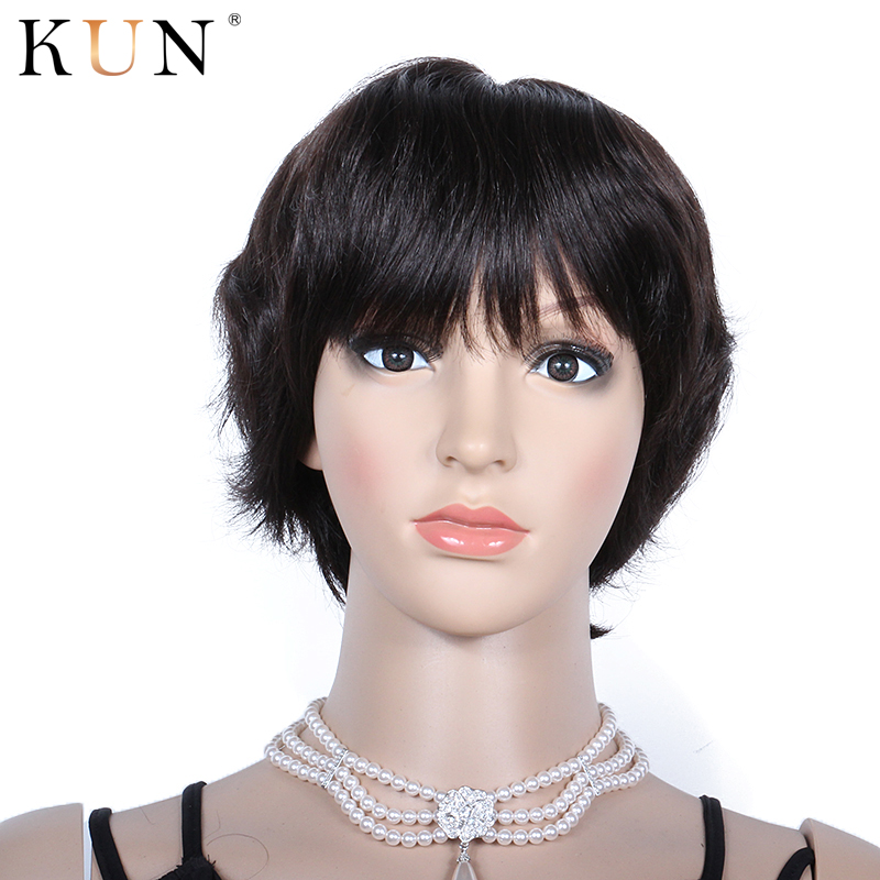 Short Human Hair Wigs Straight Wig With Bang Pixie Cut Machine Made None Lace Wig Brazilian Short Wig Glueless Remy Pre Plucked